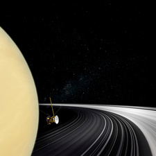 Cassini orbiter crossing Saturn's rings, illustration
