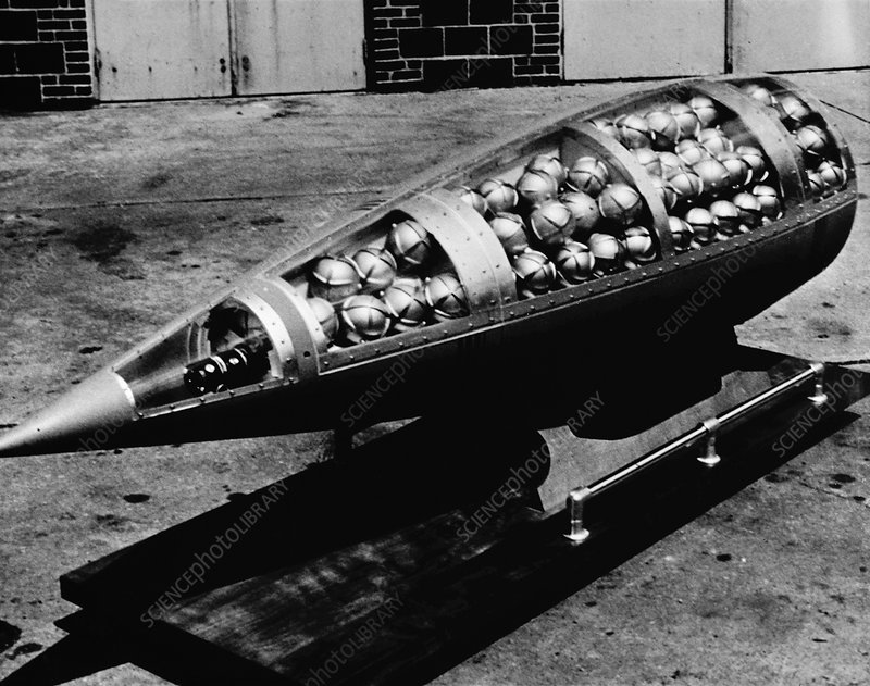 Cluster bomb showing bomblets, circa 1943