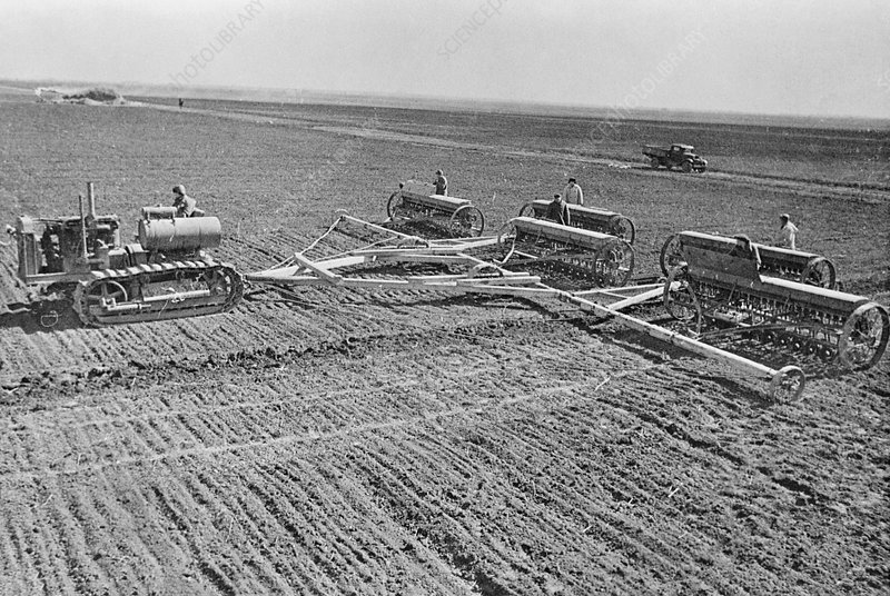 Sowing crops on a collective farm, Ukraine, 1930s