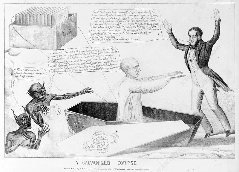 Galvanized corpse, 19th century cartoon