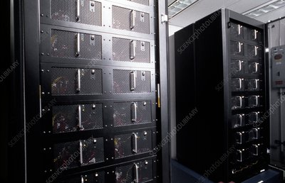 Deep Blue supercomputer racks