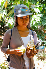 Woman holding a cocoa pod split open