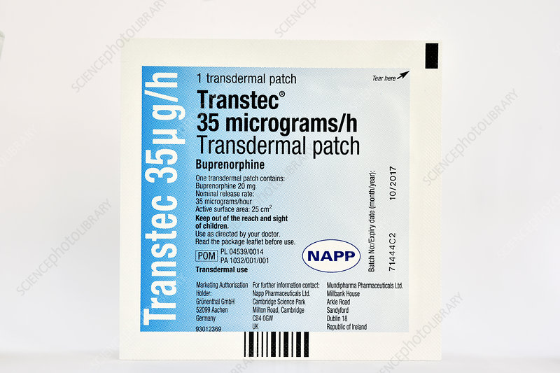 Buprenorphine painkiller transdermal patch