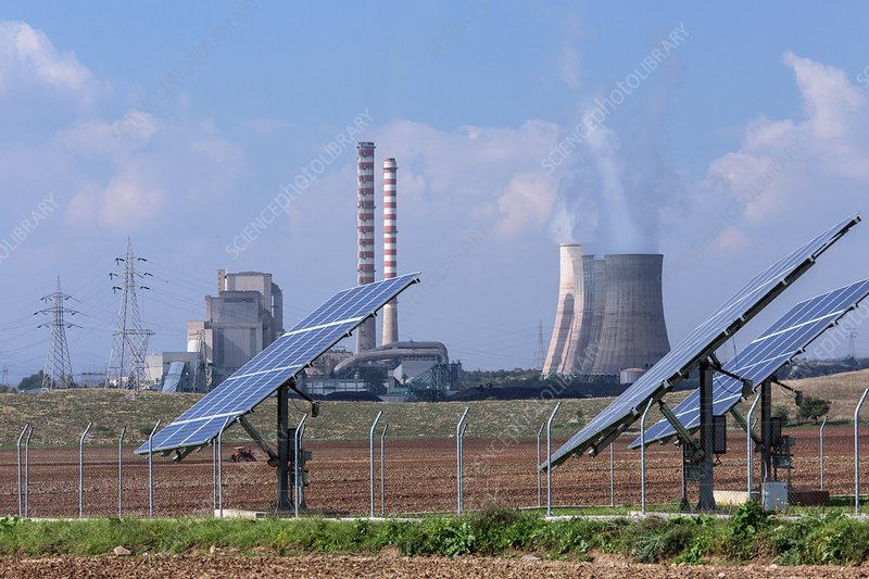 Solar panels and coal-fired power station, Greece