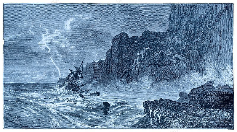 Storm at sea and shipwreck