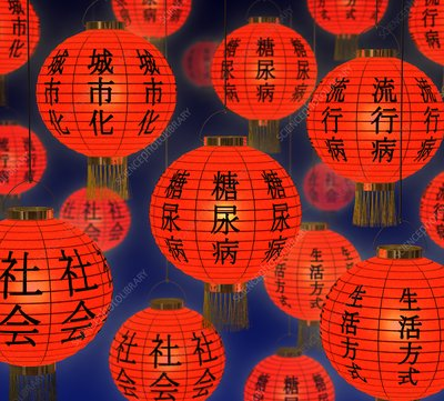 China and diabetes, conceptual image