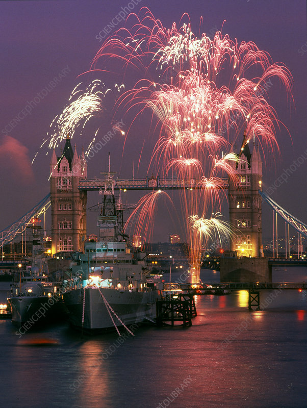 Fireworks over Tower Bridge, London, UK