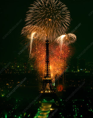 Fireworks and the Eiffel Tower, Paris