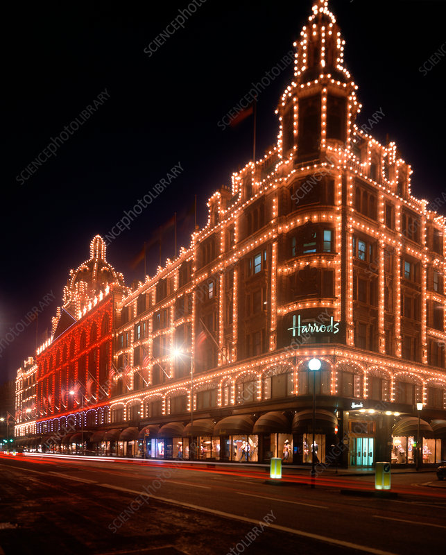 Harrods department store at night, London, UK