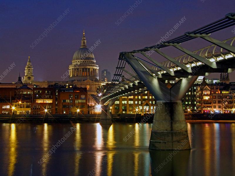Millennium Bridge and St Paul's, London, UK