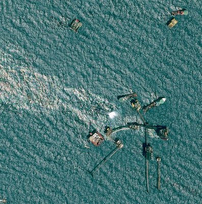 Pemex oil rig fire, 2015, satellite image