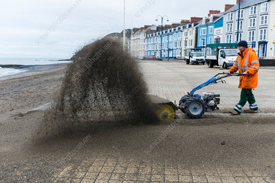 Clearing sand from a promenade