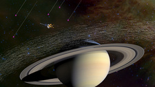 Cassini orbiter sampling intersellar dust, illustration