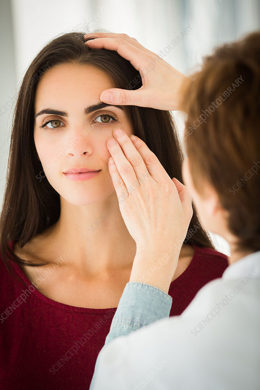 Doctor examining woman's eye