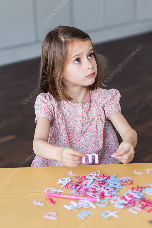 Child sorting letters
