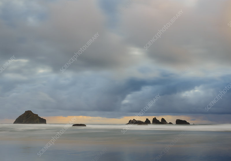 Sea Stacks and Drifting Clouds