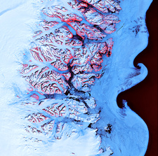Greenland coastal mountains and ice, satellite image