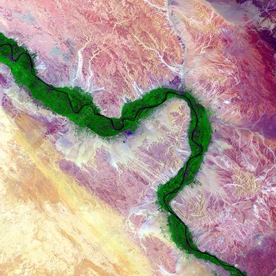 Nile and Egyptian desert, satellite image