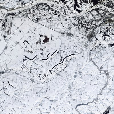 Agricultural winter landscape in Russia, satellite image