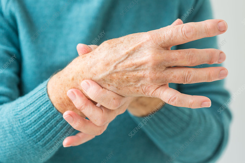 Senior woman suffering from articular pain