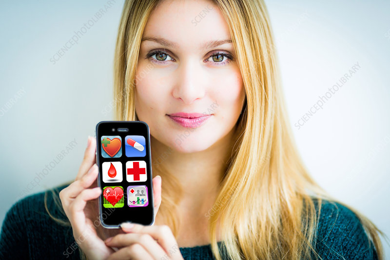 Woman using health application on her Iphone