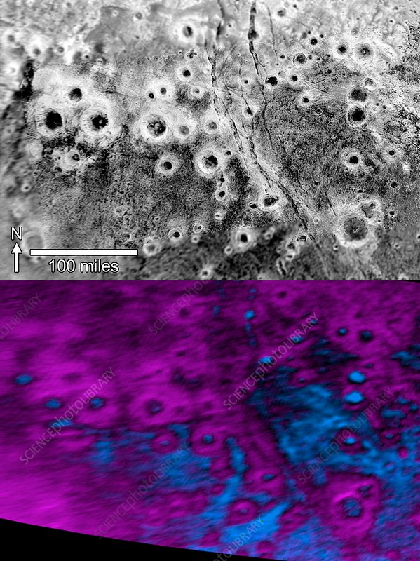 Craters on Pluto, New Horizons images