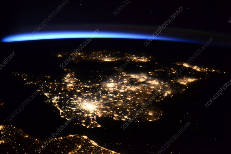 UK at night from the ISS, February 2016
