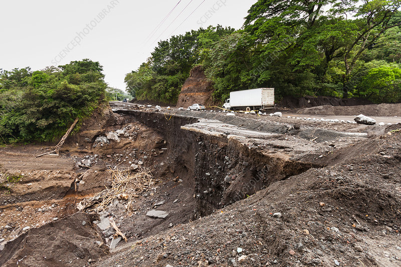 Road after landslide