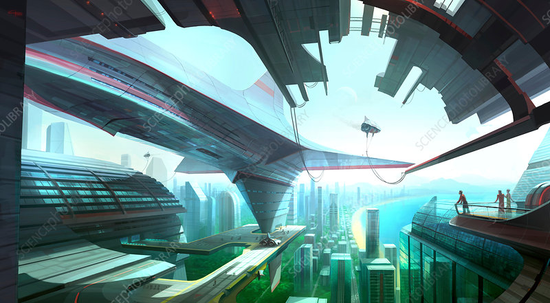 Future spaceport, illustration
