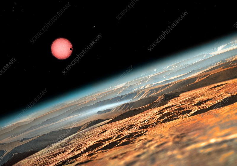 Planetary atmosphere in TRAPPIST-1 system, illustration