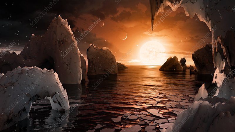 Surface of TRAPPIST-1f exoplanet, illustration