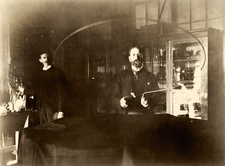 Tesla and Johnson in Tesla's laboratory, 1894