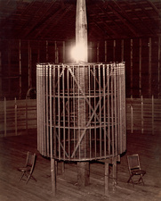 Tesla incandescent lamp and coil, circa 1899