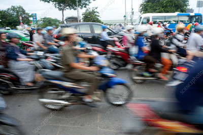 Mopeds at rush hour, Ho Chi Minh City, Vietnam