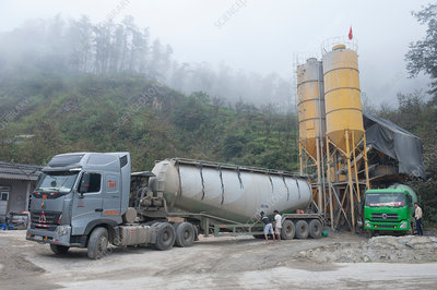 Truck loaded with quarried materials, Vietnam