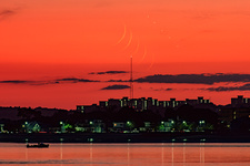 New Moon and Jupiter over Boston, USA