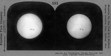 Sun and sunspots in 1910s, stereoscopic card