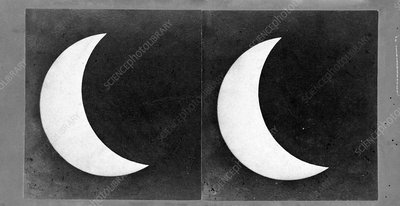 Total solar eclipse, 7 August 1869, stereoscopic card