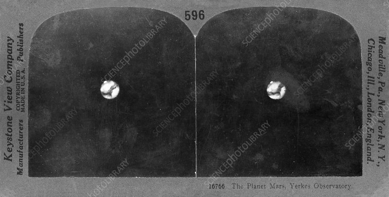 Mars in 1909, stereoscopic card