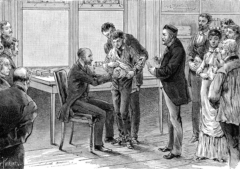 Pasteur and rabies vaccination, 19th Century illustration