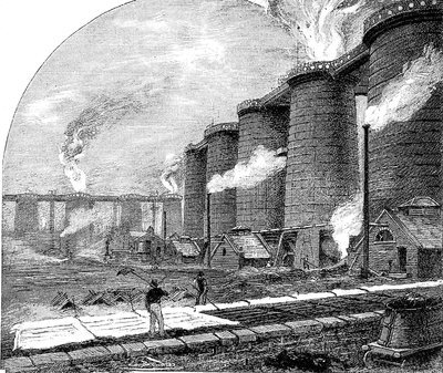 19th Century blast furnaces, illustration