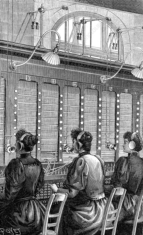 19th Century telephone exchange, illustration