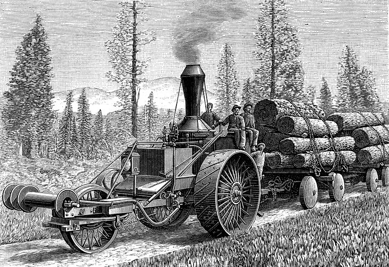 19th Century steam tractor, USA, illustration