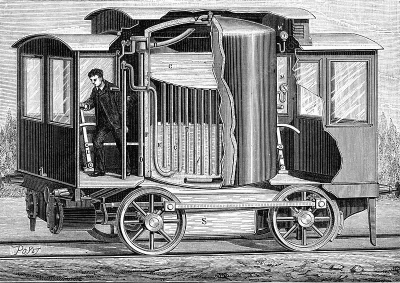 19th Century soda locomotive, illustration
