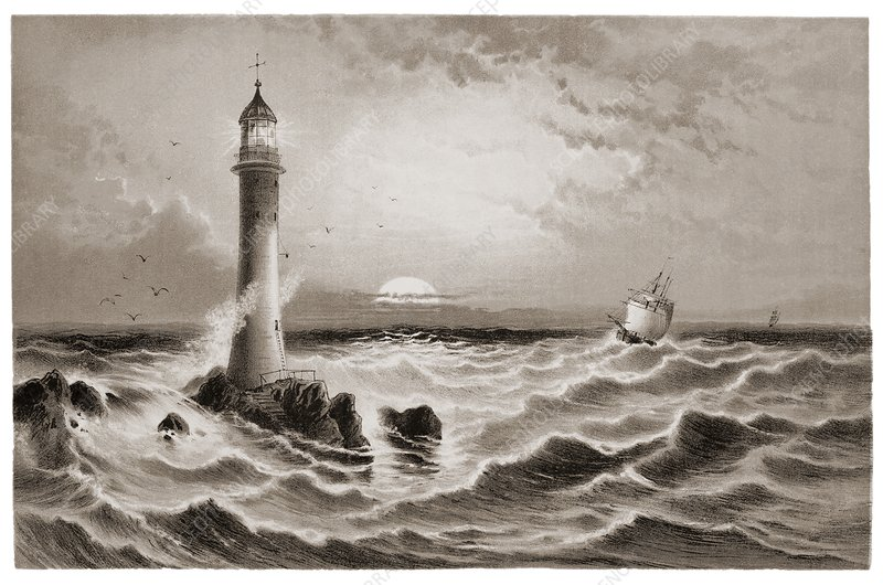Lighthouse and approaching sailing ship.