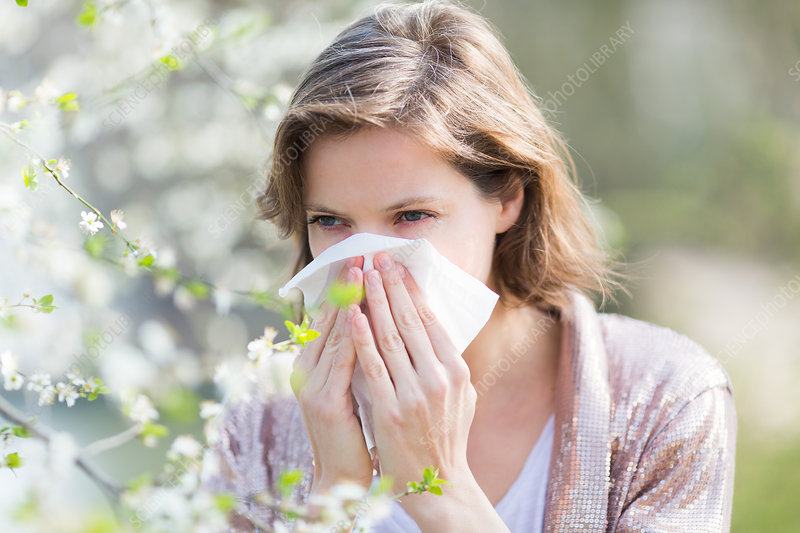 Woman with hay fever blowing her nose