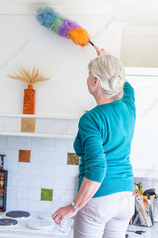 Senior woman house cleaning