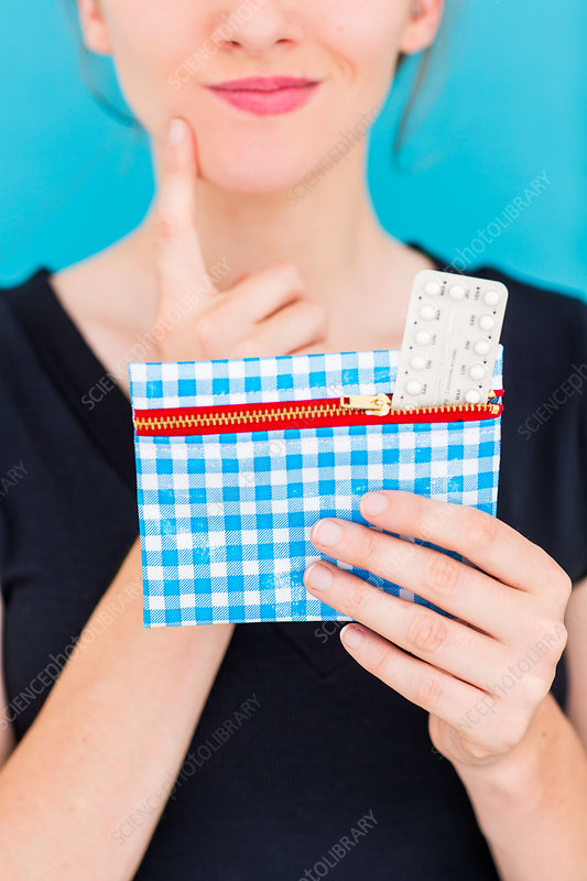 Woman holding contraceptive pills