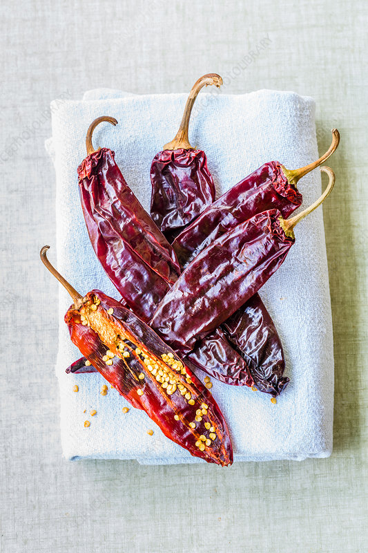 Dried red chilli peppers (Capsicum sp)
