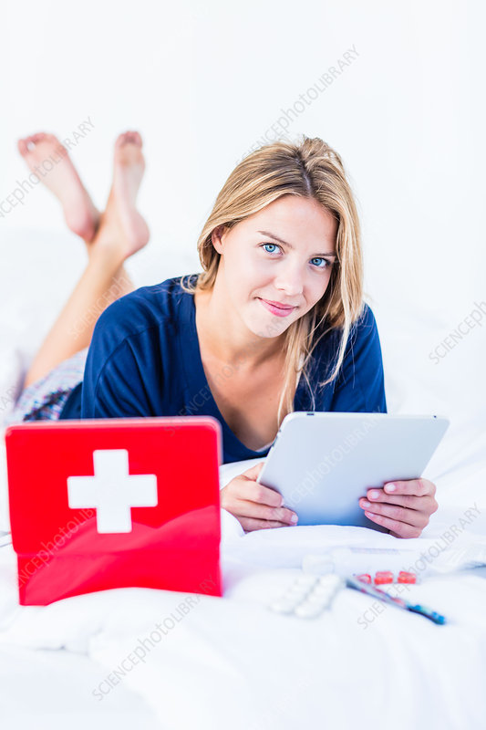 Woman using health application